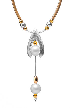 Drop with Two Pearls & Beads