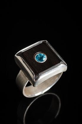 Ebony, Silver & Blue Topaz Ring