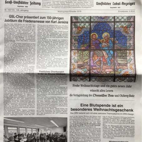 GSL präsentiert zum 150 Jubiläum Friedensmesse von Karl Jenkins