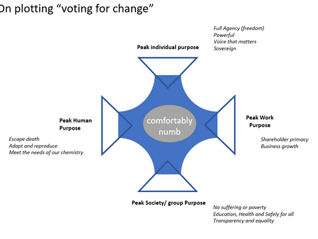 Exploring why voting for change difficult, using the peak paradox framework.