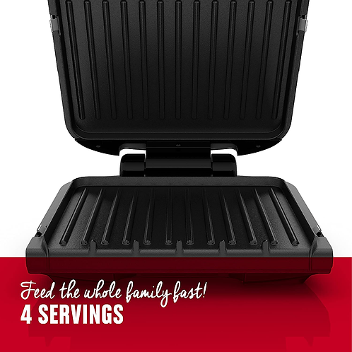 George Foreman Electric Grill 4-Serving Removable Plate and Panini Press Black