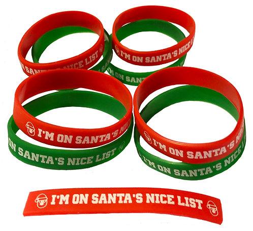 """I'm on Santa's Nice List"" Gel Wristbands"