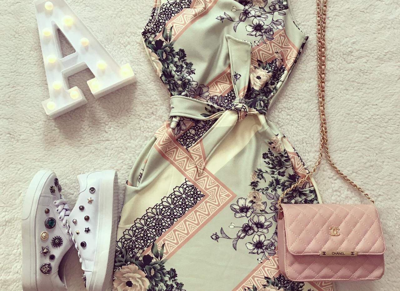 Vestido verde florido