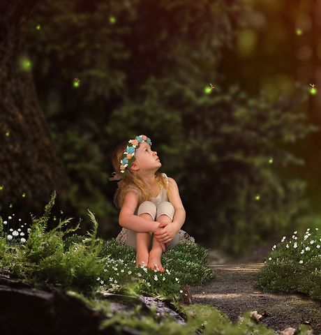 Magic fairy forest. A small child watchi