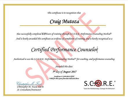 SCORE Certificate of Completion Sample (New)