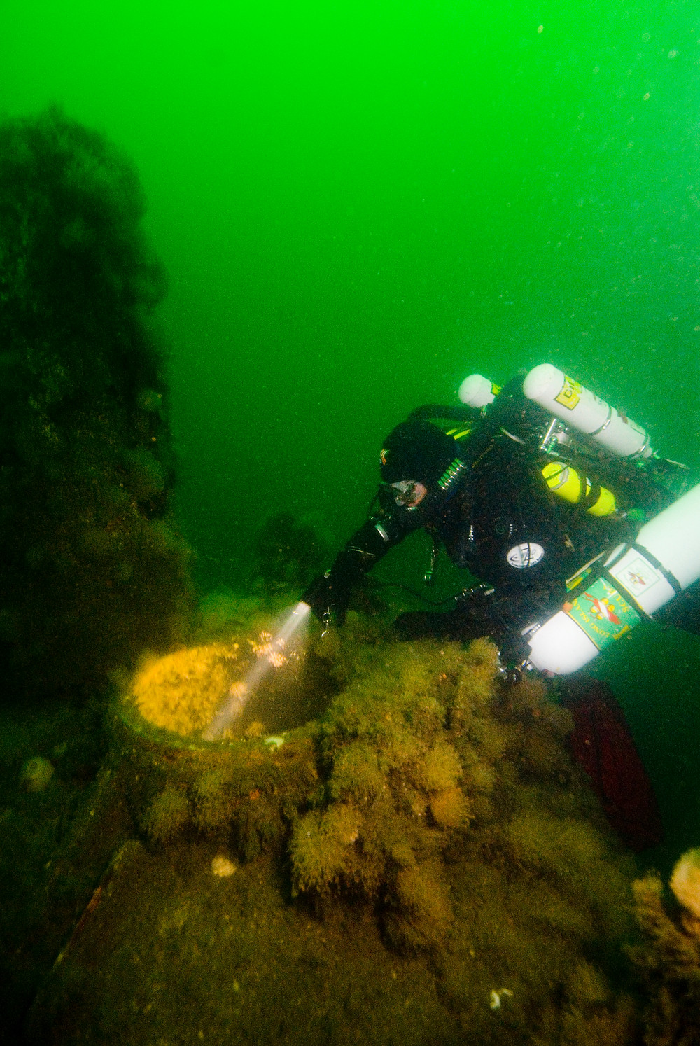 Capt Andy Favata diving his rebreather on the U-853