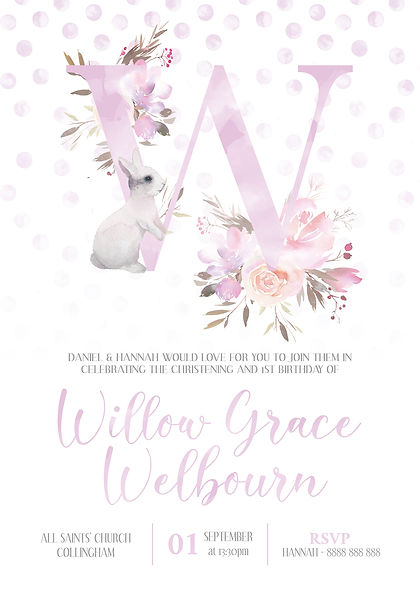 Willow Birthday Christening Invite (webs