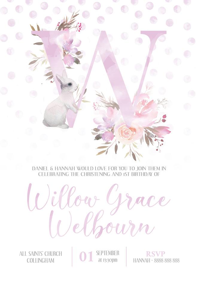 collection: Pink Bunny Christening & Birthday Invite