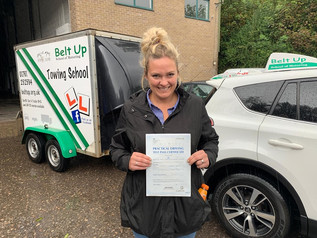 Rhea Horner-De Pee passed her car and trailer test!