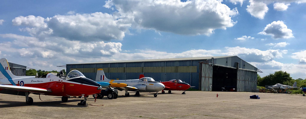 Jet Provost Aircraft taking advantage of the ample Weald Aviation Services Apron