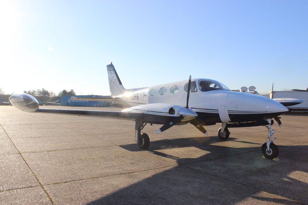 N3HK Cessna 340 Front View Eagle Motion.
