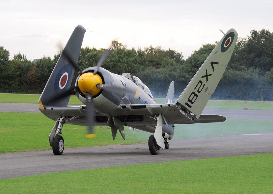 Hawker Sea Fury T.20 G-RNHF takes to the skies after an ongoing restoration