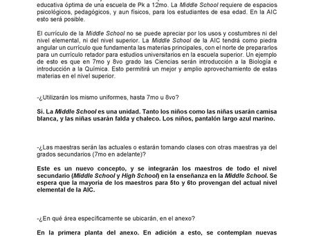 Orientación a padres de AIC Middle School