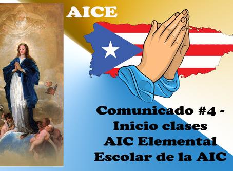 Comunicado #4 - Inicio clases AIC Elemental