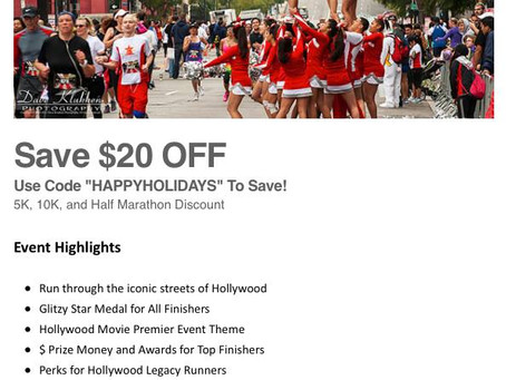 $20.00 Discount to Hollywood Half Marathon in Los Angeles, California