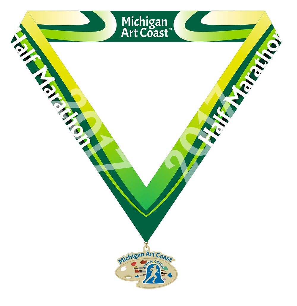 Michigan Art Coast Half marathon medal - bling