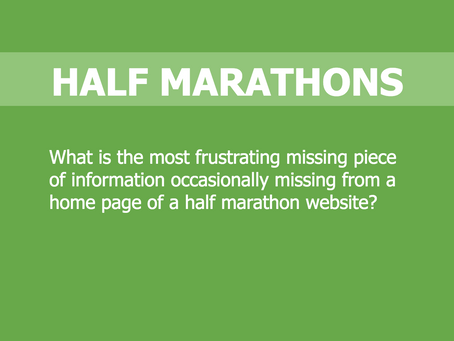 "Half Marathon Calendar USA asked Half Marathon Participants ""What is the most frustrating missing..."