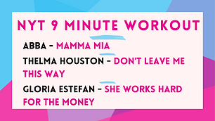 ABBA - Mama Mia; Thelma Houston - Don't Leave Me This Way; Gloria Estefan - She Works Hard For The Money