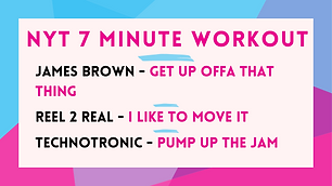 James Brown - Get Up Offa That Thing ; Reel 2 Real - I Like To Move It; Technotronic - Pump Up The Jam