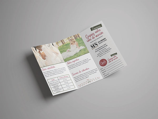 opale boutique mariage dépliant depliant flyer brochure mariage kaz design karine chevrier