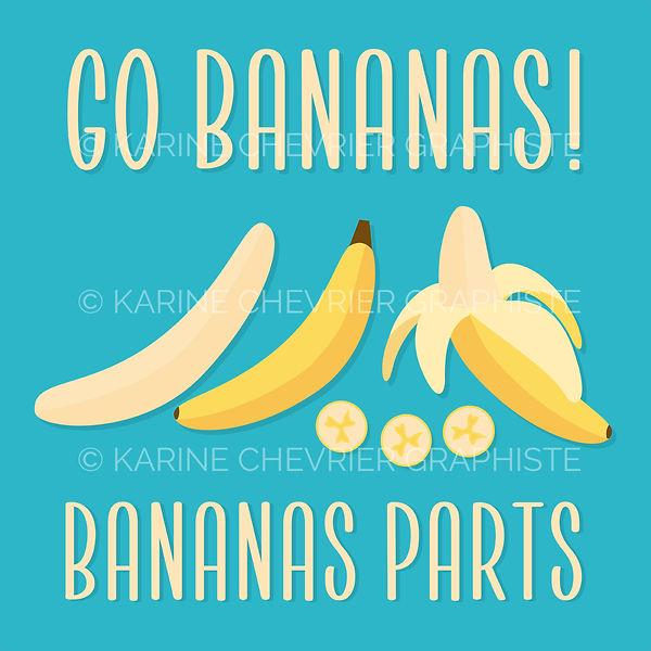Illustration vectorielle vector banane banana parts parties coupée découpée tranches Karine Chevrier graphiste