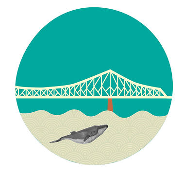illustration pont jacques cartier bridge whale baleine fleuve st-laurent st-lawrence kaz design francofolies karine chevrier