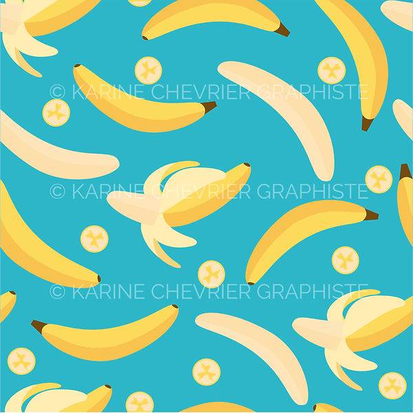 seamless pattern bananas bananes illustration vector vectorielle karine chevrier graphiste