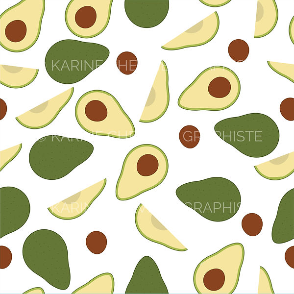 seamless pattern avocat avocado illustration vector vectorielle karine chevrier graphiste