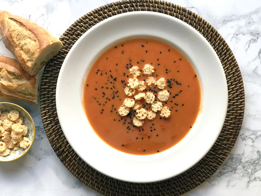 Tomato and Basil Soup with Parmesan Cheese Crisps