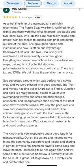 Another 5* Google review