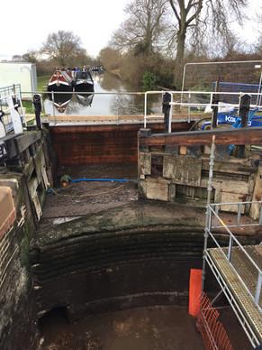 A drained lock under repair