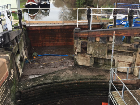 A drained lock under repair