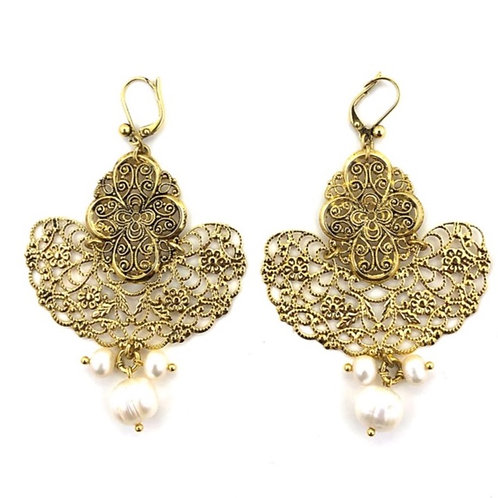 Gold-tone filigree earrings with pearls