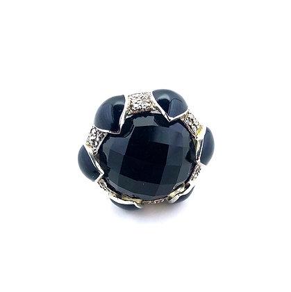 Black onyx round ring