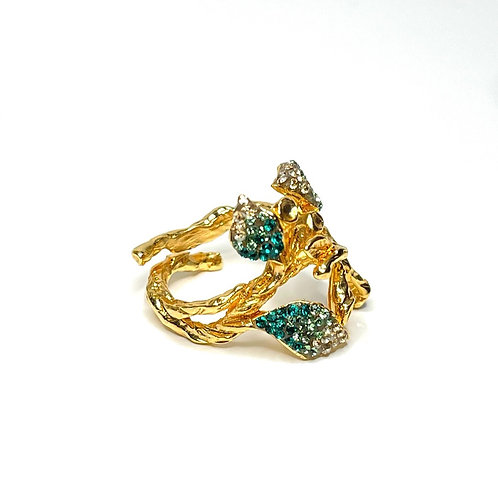 Spring leaves gold-plated crystal ring