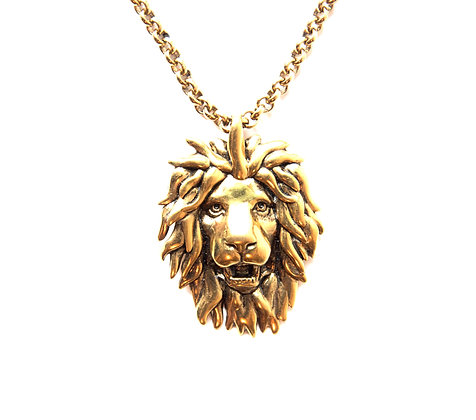 Gold-tone lion head necklace