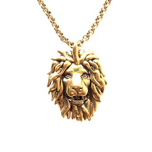 Gold-tone lion head necklace