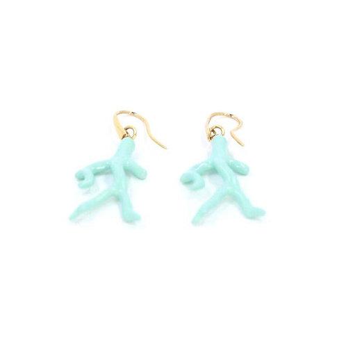 Faux coral dangling earrings