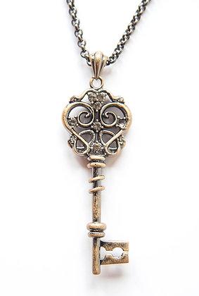Burnished silver-tone key pendant