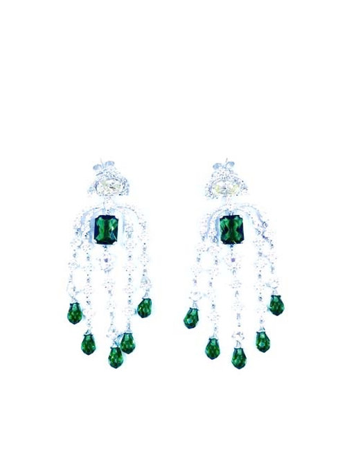Luxurious faux emerald chandelier earrings