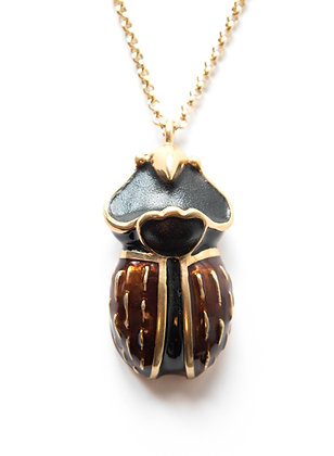 Gold-tone enameled scarab pendant with chain