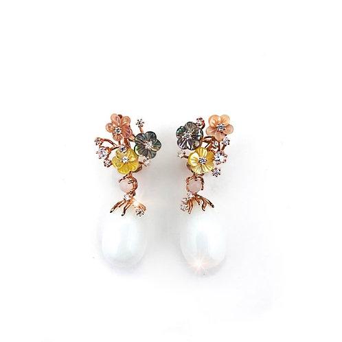 Moonstone teardrop earrings with flowers