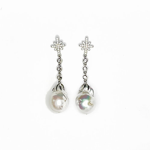 Baroque pearl and crystal earrings