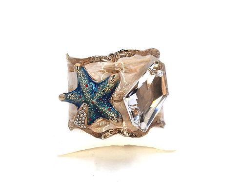 Starfish and large crystal cuff