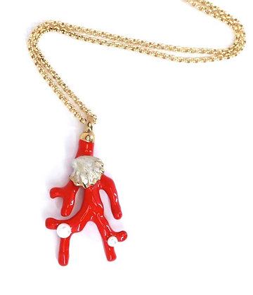 Faux coral and pearl necklace