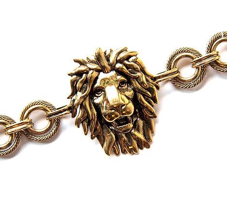 Burnished gold-tone lion bracelet