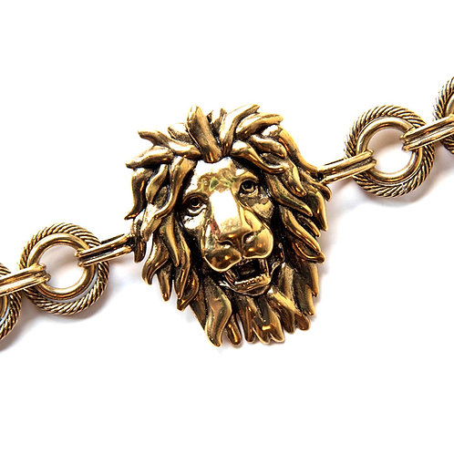 Burnished gold-tone lion bracelet