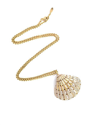 Gold-plated shell necklace with Swarovski crystals