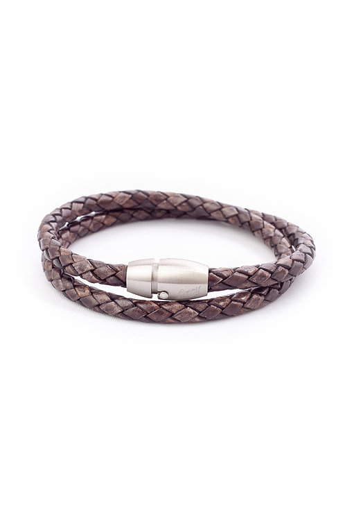 5mm Antique Brown Double Wrap in Silver