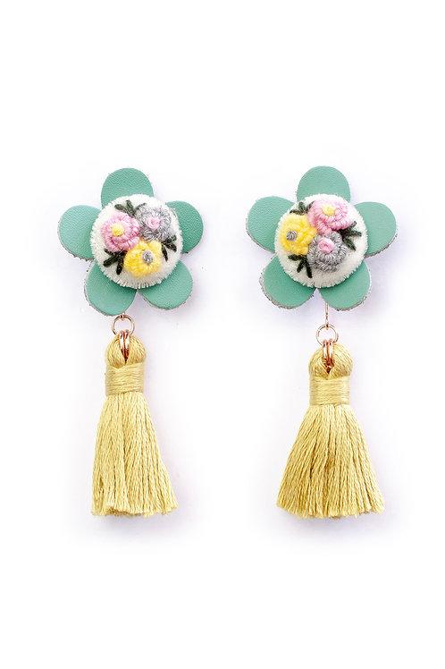 Floral Tassel Earrings in Lime Green 02
